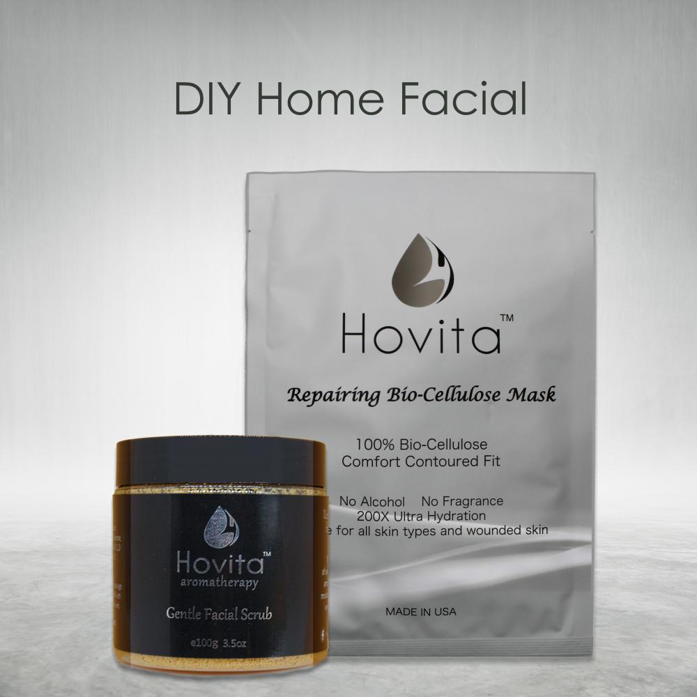 Hovita Repairing Bio-Cellulose Mask and Hovita Aromatherapy Gentle Facial Scrub